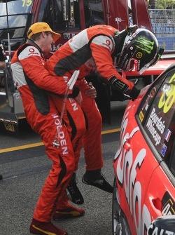 Race winners Sébastien Bourdais and Jamie Whincup celebrate