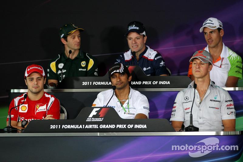 Felipe Massa, Scuderia Ferrari, Jarno Trulli, Team Lotus, Narain Karthikeyan, Hispania Racing F1 Team, HRT, Rubens Barrichello, AT&T Williams, Michael Schumacher, Mercedes GP Petronas F1 Team, Adrian Sutil, Force India F1 Team