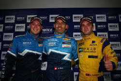 Press conference, Robert Huff, Chevrolet Cruze 1.6T, Chevrolet 3rd position, Alain Menu, Chevrolet Cruze 1.6T, Chevrolet race winner and Colin Turkington, BMW 320 TC, Aviva-Cofco Wiechers-Sport 2nd position