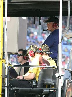 Kyle Busch and Joe Gibbs look on