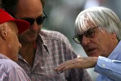 Niki Lauda, Gerhard Berger y Bernie Ecclestone