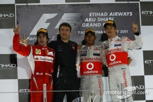Podium: race winner Lewis Hamilton, McLaren Mercedes, second place Fernando Alonso, Scuderia Ferrari, third place Jenson Button, McLaren Mercedes