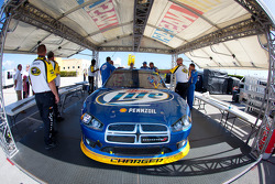 Car of Brad Keselowski, Penske Racing Dodge at technical inspection