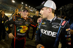 NASCAR Camping World Truck Series 2011 champion Austin Dillon, RCR Chevrolet celebrates with James Buescher, Turner Motorsport Chevrolet at the moment the race is declared over