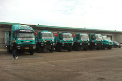 The IVECO trucks of Team de Rooy are prepared for the long trip to South America