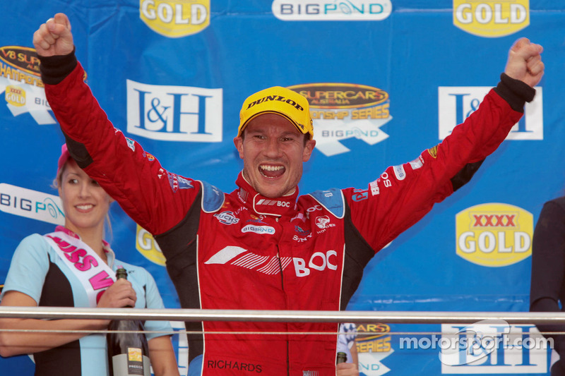 Jason Richards on the podium at Phillip Island in 2010