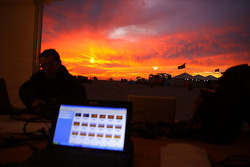Sunset from the press tent