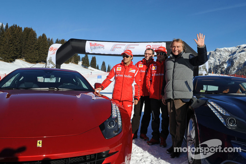 Fernando Alonso, Luca di Montezemolo en Felipe Massa voorstelling nieuwe Ferrari FF