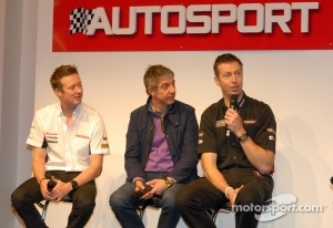 Gordon Shedden, Jason Plato and Matt Neal on the Autosport Stage