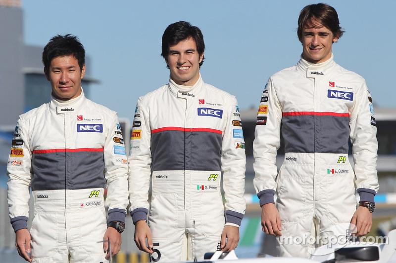 2012 Kamui Kobayashi, Sauber F1 Team con Sergio Pérez, Sauber F1 Team y Esteban Gutiérrez, Sauber F1 Team