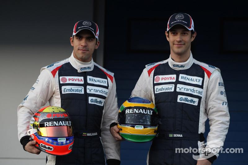 Pastor Maldonado, Williams F1 Team, y Bruno Senna, Williams F1 Team