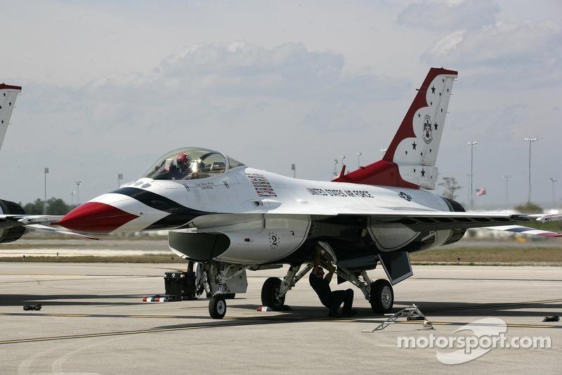 The USAF Thunderbirds practice at Daytona International Speedway