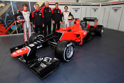 Charles Pic, Marussia F1, Team, Andy Webb, CEO, Marussia F1 Team, John Booth, Team Principal, Marussia F1 Team, Graham Lowdon, Sporting Director, Marussia F1 Team and Timo Glock with the new Marussia F1 MR01