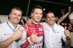 Marcel Fassler, Andre Lotterer and Benoit Tréluyer celebrate overall pole