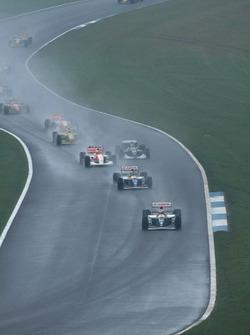 Alain Prost, Williams FW15C Renault leads Damon Hill, Williams FW15C Renault, Ayrton Senna, McLaren MP4/8 Ford