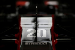 The nose of the car of Kevin Magnussen, Haas F1 Team VF-17