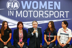Marta Garcia, Renault Sport F1 Team Sport Academy, Michelle Mouton, Jean Todt, President, FIA, Tatiana Calderon, Sauber and Monisha Kaltenborn, Team Principal and CEO, Sauber, at a Women in Motorsport Press Conference