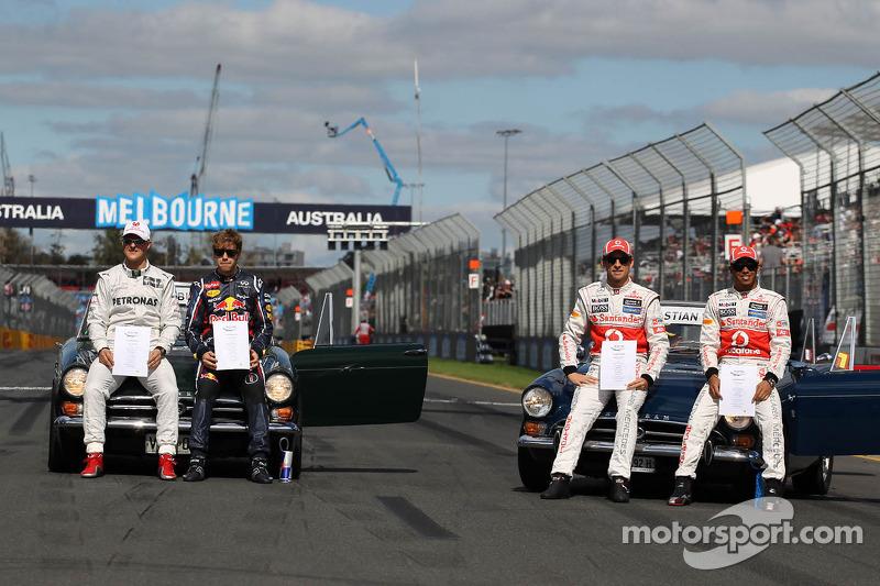 Michael Schumacher, Mercedes GP, Sebastian Vettel, Red Bull Racing, Jenson Button, McLaren Mercedes and Lewis Hamilton, McLaren Mercedes