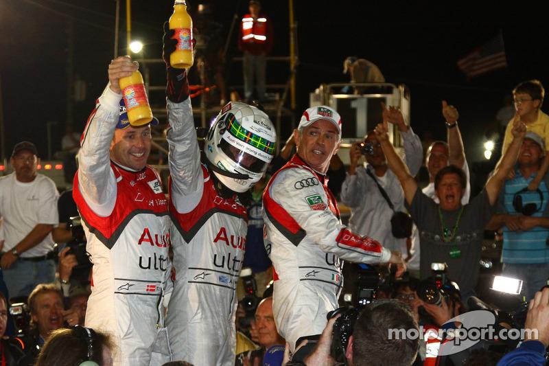 Race winners Tom Kristensen, Allan McNish and Rinaldo Capello