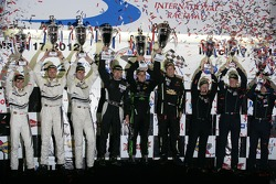 ALMS GTC podium: first place Bill Sweedler, Townsend Bell, Dion von Moltke, second place Cooper MacNeil, Leh Keen, Louis-Philippe Dumoulin, third place Peter LeSaffre, Damien Faulkner, Sebastiaan Bleekemolen