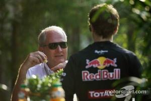 Dr Helmut Marko, Red Bull Motorsport Consultant with Sebastian Vettel, Red Bull Racing
