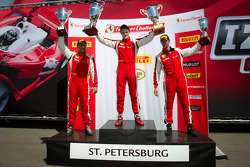 458TP podium: winner #23 Ferrari of Central Florida 458TP: Onofrio Triarsi, second place #2 Ferrari of Ft Lauderdale 458TP: Alex Popow, third place #458 Ferrari of Beverly Hills 458TP: Kevin Courtade