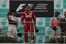 2nd place Sergio Perez, Sauber F1 Team and 1st place Fernando Alonso, Scuderia Ferrari and 3rd place Lewis Hamilton, McLaren Mercedes