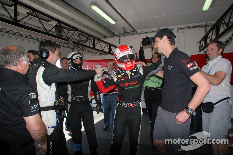 Mathias Beche celebrates LMP2 pole