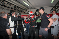 Mathias Beche celebrates LMP2 pole