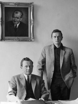 Ferry Porsche (left) in his office with his son Ferdinand Alexander Porsche (ca. 1960)