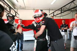 Pole winner Mathias Beche celebrates