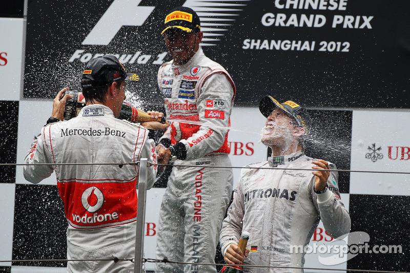 2012 : 1. Nico Rosberg, 2. Jenson Button, 3. Lewis Hamilton