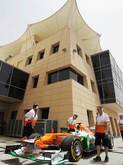 The Sahara Force India F1 of Nico Hulkenberg, at the pit lane entrance