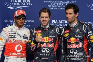 Qualifying results, 2nd Lewis Hamilton, McLaren Mercedes with 1st Sebastian Vettel, Red Bull Racing and 3rd Mark Webber, Red Bull Racing