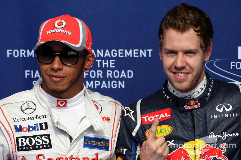 Lewis Hamilton, McLaren Mercedes en Sebastian Vettel, Red Bull Racing