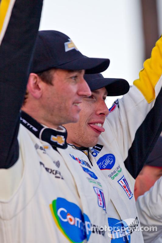 ALMS GT podium: winners Oliver Gavin, Tom Milner