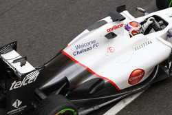 Kamui Kobayashi, Sauber F1 Team rear wing and exhaust with Welcome Chelsea FC on the side of the car