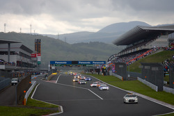 Safety car leads the field as the race starts under yellow