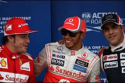 Fernando Alonso, Scuderia Ferrari, Lewis Hamilton, McLaren Mercedes en Pastor Maldonado, Williams F1 Team