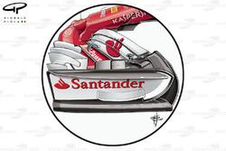 Ferrari SF70H nieuwe voorvleugel en neus, Britse GP