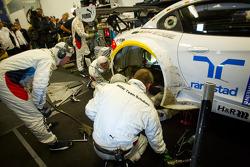 #19 BMW Team Schubert BMW Z4 GT3 in the garage with suspension problems