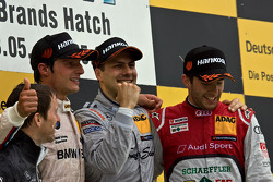 Podium from left: Bruno Spengler, BMW Team Schnitzer BMW M3 DTM, Gary Paffett, Team HWA AMG Mercedes, AMG Mercedes C-Coupe, Mike Rockenfeller, Phoenix Racing Audi A5 DTM