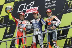 Podium: race winner Jorge Lorenzo, Yamaha Factory Racing, second place Valentino Rossi, Ducati Marlb