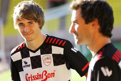 Charles Pic, Marussia F1 Team with teammate Timo Glock, Marussia F1 Team play in the charity football match