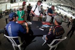 Alex Tagliani, Team Barracuda - BHA Honda en Jean Alesi, FP Journe  Fan Force United Lotus
