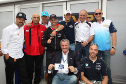 Marcello Lotti, WTCC General Manager and the drivers of the 100-RACE CLUB, Yvan Muller, Chevrolet Cruze 1.6T, Chevrolet, Gabriele Tarquini, Chevrolet Cruze 1.6T, Chevrolet, Tiago Monteiro, BMW 320 TC, Wiechers-Sport, Franz Engstler, BMW 320 TC,  Liqui Mol