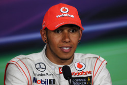 Race winner Lewis Hamilton, McLaren Mercedes in the FIA Press Conference