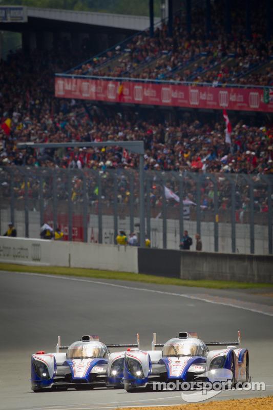#7 Toyota Racing Toyota TS 030 - Hybrid: Alexander Wurz, Nicolas Lapierre, Kazuki Nakajima, #8 Toyota Racing Toyota TS 030 - Hybrid: Anthony Davidson, Sébastien Buemi, Stéphane Sarrazin