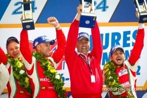 LMGTE Pro podium: class winners Giancarlo Fisichella, Gianmaria Bruni, Toni Vilander