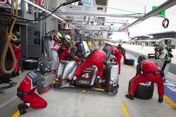 Pit stop for #4 Audi Sport North America Audi R18 Ultra: Oliver Jarvis, Marco Bonanomi, Mike Rockenfeller
